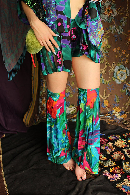 Upcycled Tropical Bell Bottom Leg Warmers - S/M