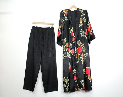 90s Silky Rose Robe and Pants Matching Set