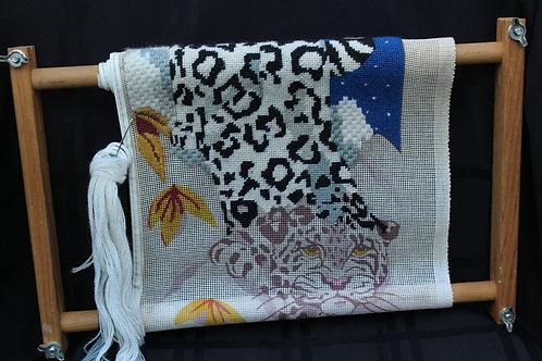 Retro Leopard Cross Stitch Craft on Rack