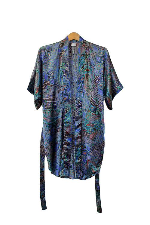 80s Abstract Silky Robe - S/M/L