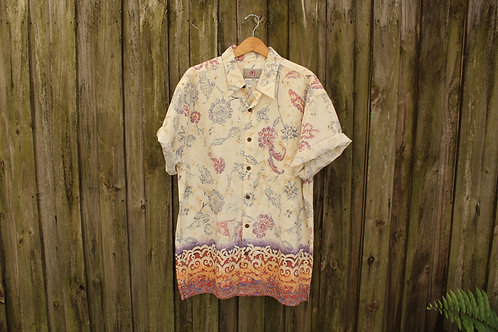 90s Stamped Boho Button Up - XL/XXL