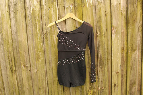 Black Sparkle Asymmetrical Bodysuit - M