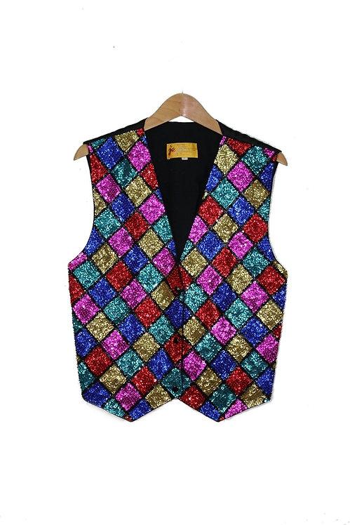 90s Colorful Sequin Vest - M/L
