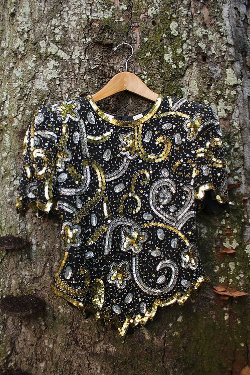 80s Swirling Stars Sequin Top