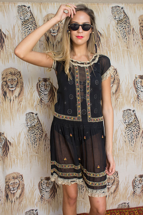20s Sheer Raw Silk Embroidered Dress