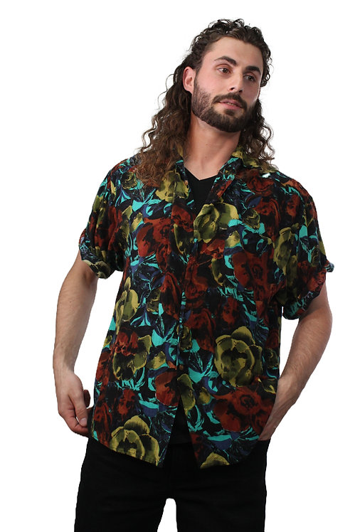 90s Dark Floral Short Sleeve Button Up - L/XL