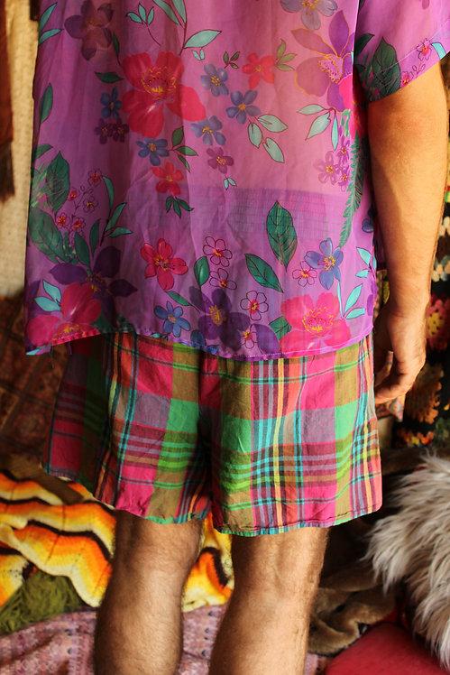 70s Bright Plaid Cotton Shorts - M