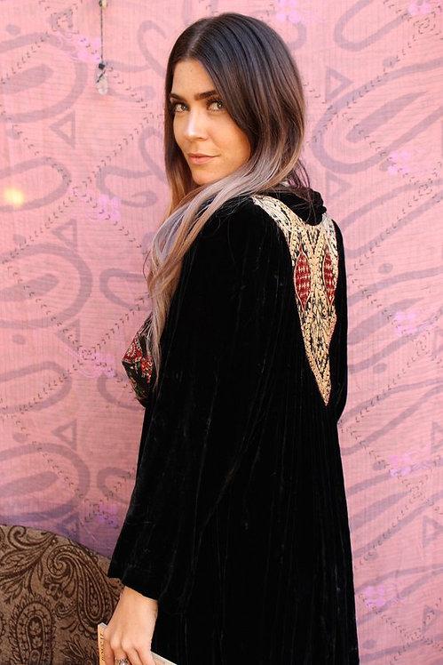 Upcycled Christian Dior Velvet Embroidered Robe