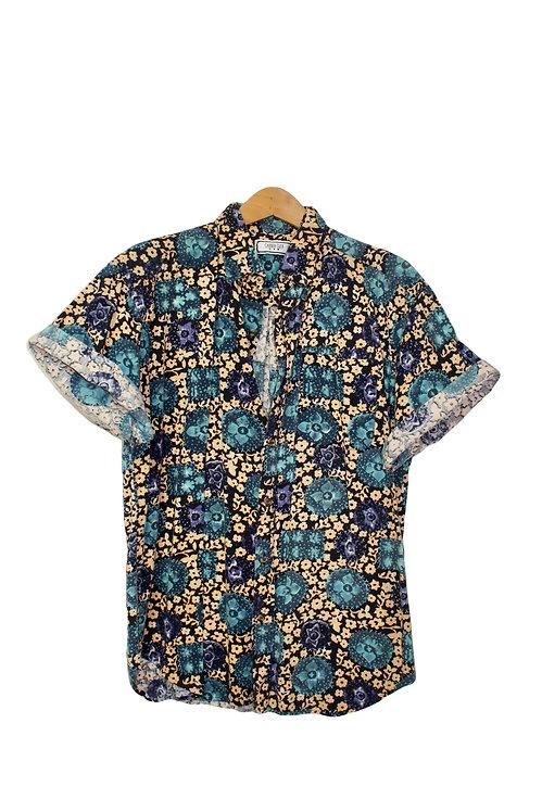 90s Patterned Cotton Button Up Shirt - L