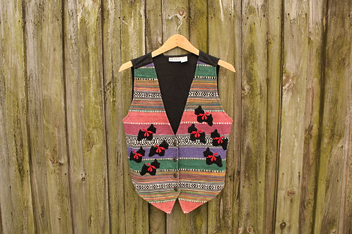 90s Mexican Blanket Style Dog Vest - M