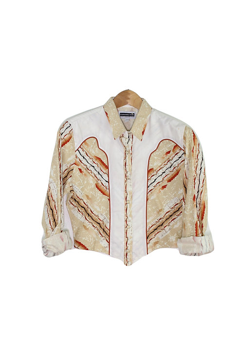 70s Cropped Western Button Up - S