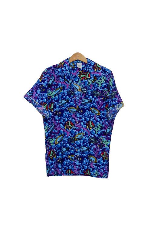 90s Rainbow Tropical Fish Shirt - M