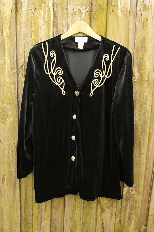 90s Gold Embellished Velvet Shirt