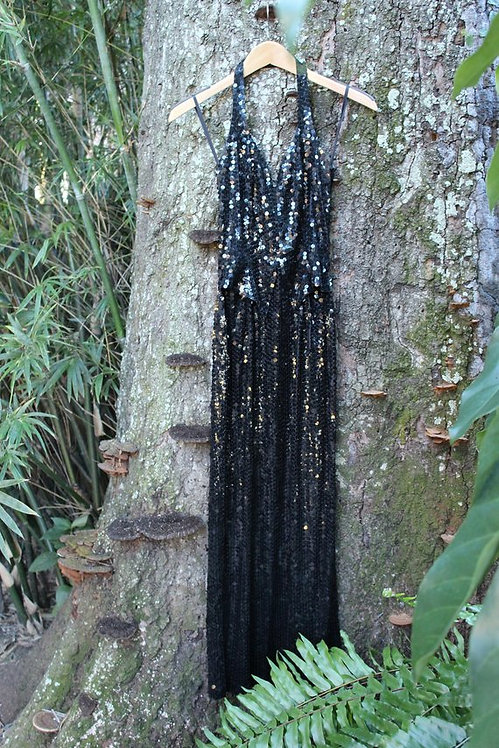 80s Black Sequin Evening Dress