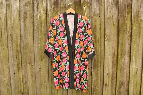 80s Bold Floral Kimono - L/XL