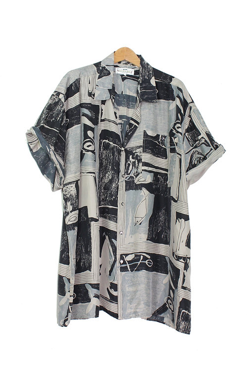 90s Abstract Fish Silk Shirt - Plus Size 3XL