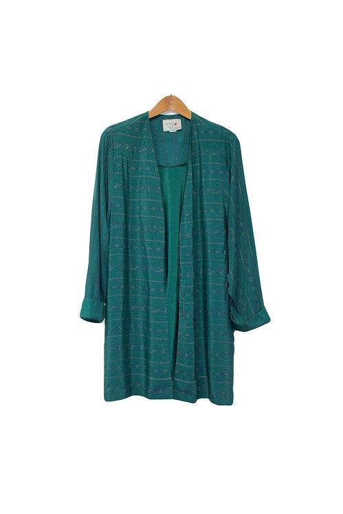 80s Low Key Patterned Long Cardigan - L/XL
