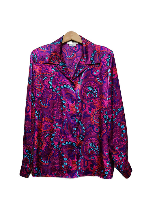 90s Silky Paisley Sleep Shirt - L/XL