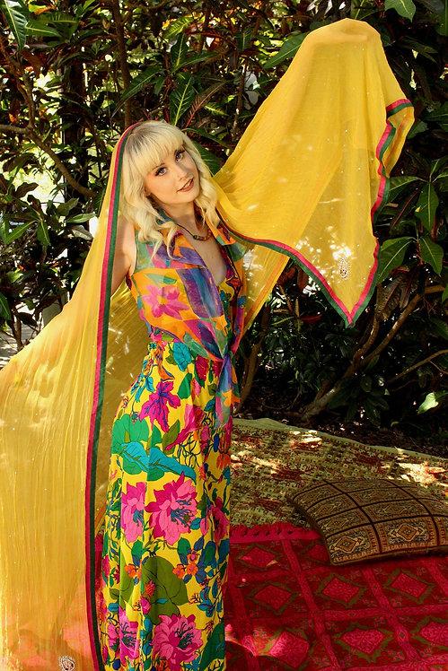 Sheer Vibrant Yellow Indian Sari