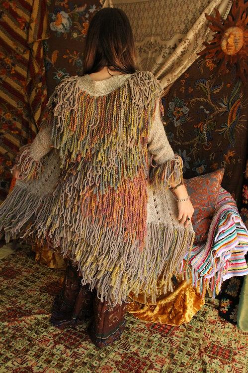Upcycled Crochet Rainbow Earth Shag Vest
