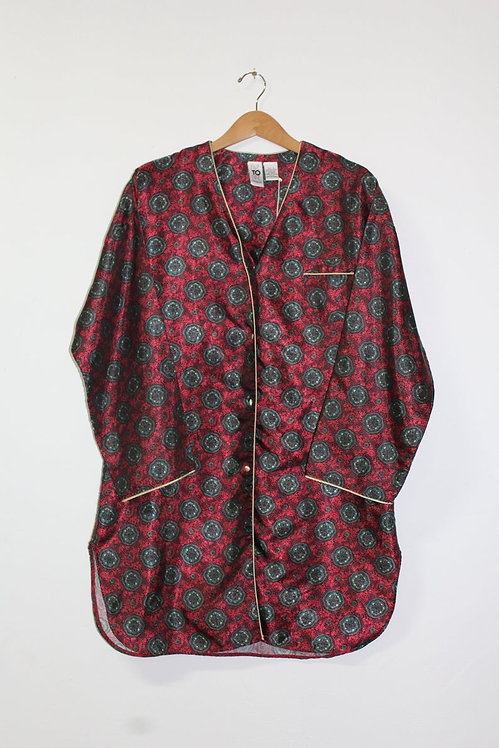 90s Silky Patterned Sleep Shirt - M/L