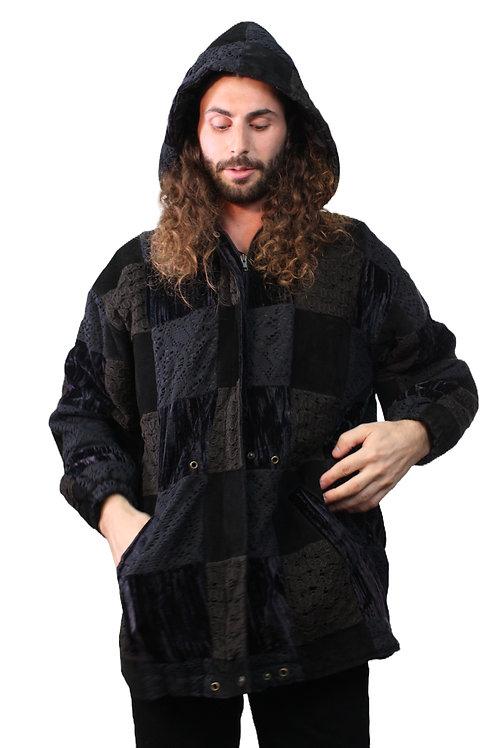 90s Velvet & Crochet Patchwork Jacket - XL