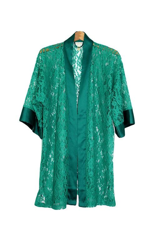 90s Sheer Lace Robe - OS