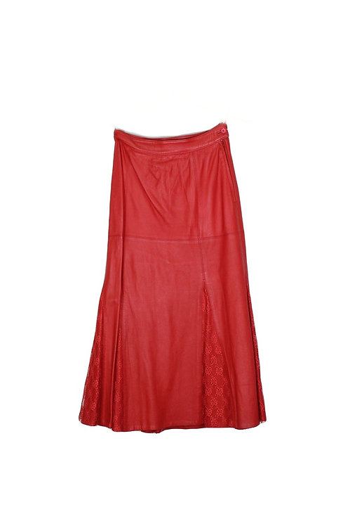 90s Red Leather Midi Skirt - S