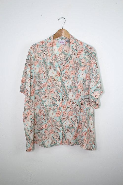 90s Pastel Floral Paisley Button Up - XL/XXL