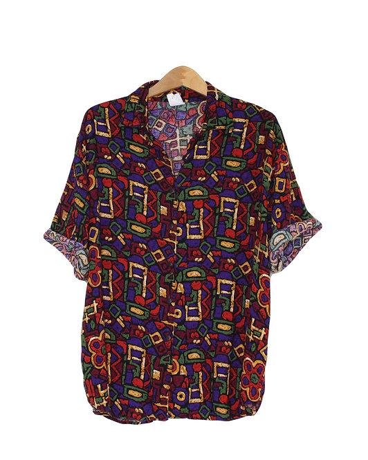 90s Abstract Print Button Up Shirt - XXL+