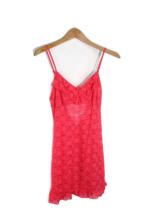 00s Neon Pink Lace Slip Dress - S