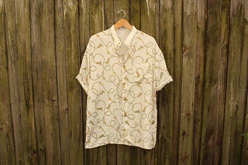 80s Trippy Silky Tassel Shirt - L/XL