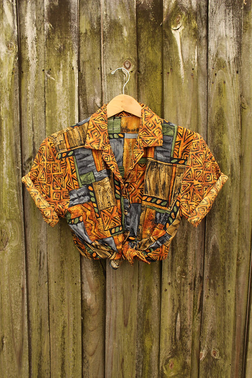 90s Tribal Geometric Short Sleeve Button Up - XXS-S
