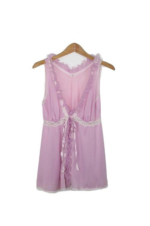 70s Lavender Lace Teddy - L