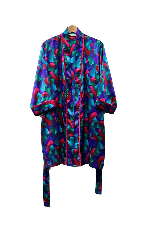 90s Colorful Silky Robe -M/L/XL