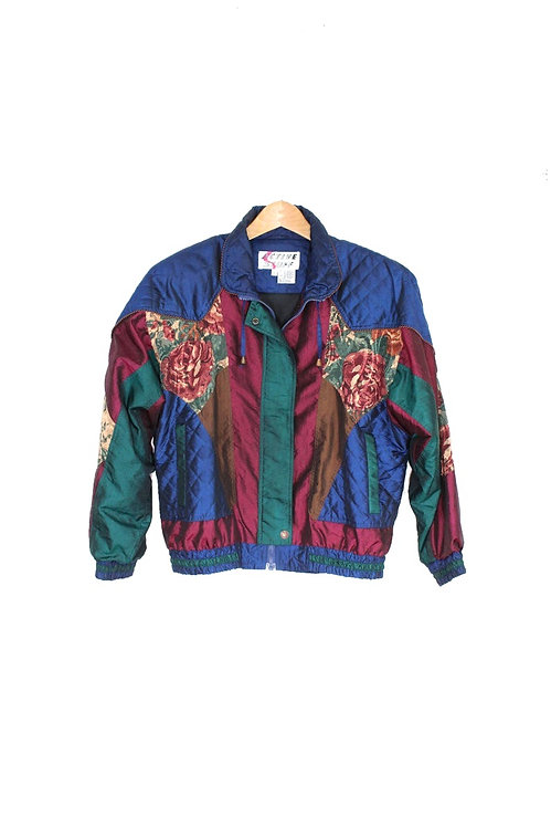 90s Floral Color Block Holographic Windbreaker - S/M