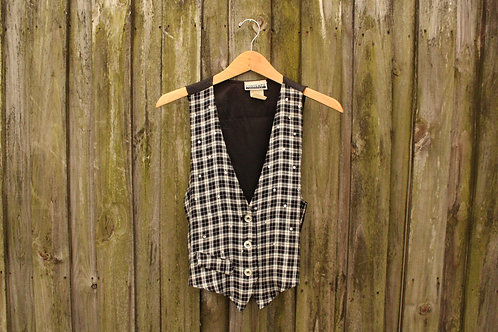 90s Bedazzled Plaid Vest - S/M