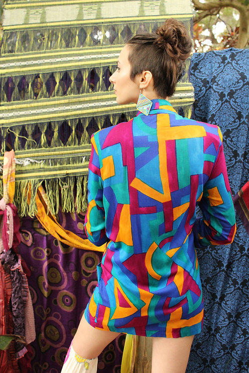 90s Colorful Abstract Blazer - S/M