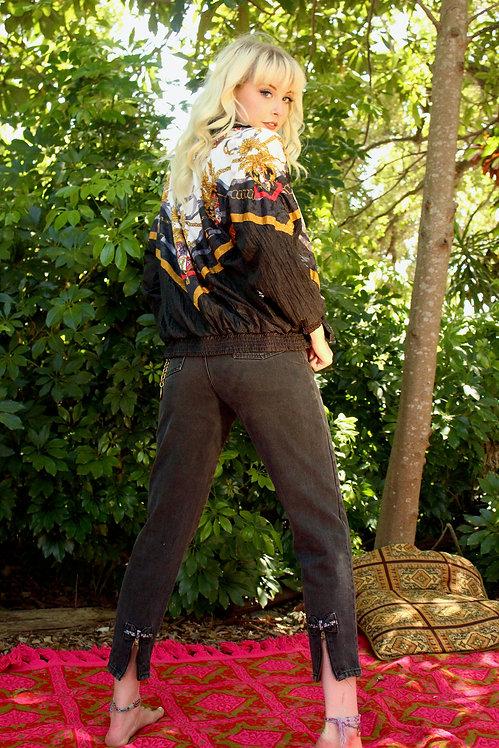 90s Black High Waisted Jeans w/Zipper Detail
