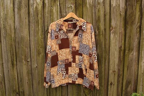90s Abstract Animal Print Track Jacket - L-XXL