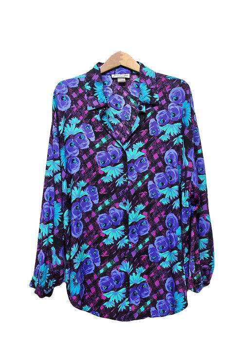 90s Bold Floral Plaid Button Up - XL/XXL