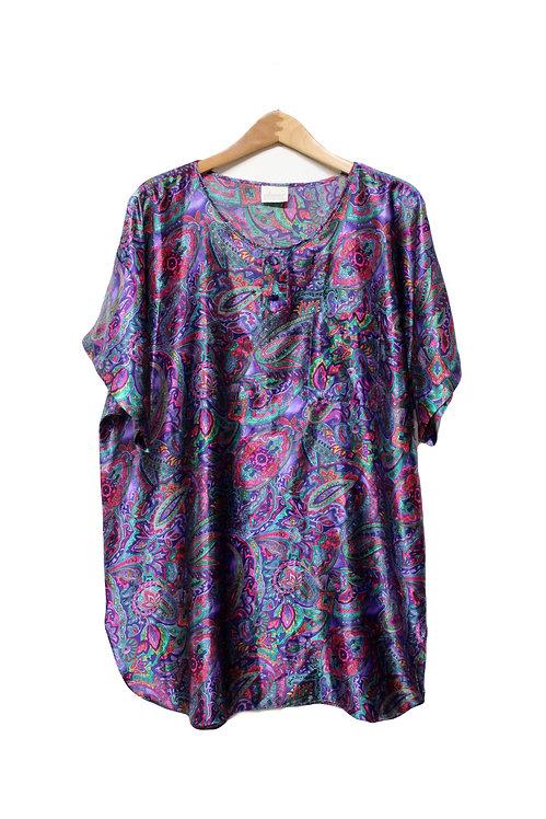90s Silky Paisley Sleep Shirt - XL+