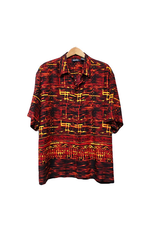 00s Hard Style Tribal Button Up - XL