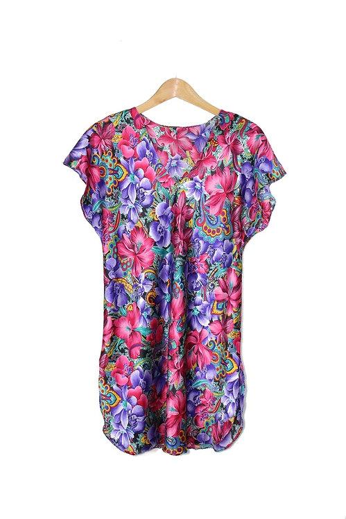 90s Silky Floral Paisley Sleep Shirt - M/L