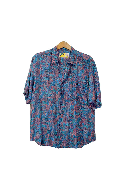 90s Tropical Silk Button Up Dad Shirt - M/L/XL