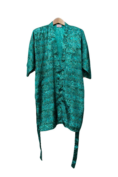 90s Silky Patterned Robe - S/M/L