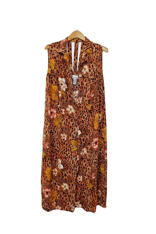 90s Cheetah and Floral Button Up Dress - XL/XXL+