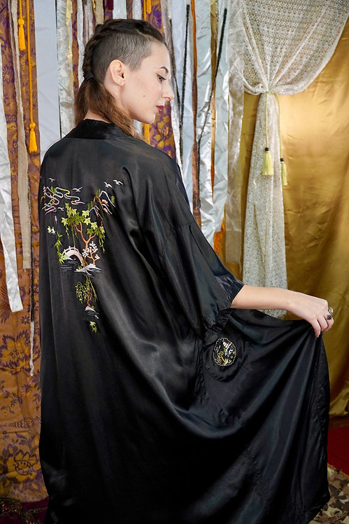 Super Silky Embroidered Chinese Robe - S/M/L
