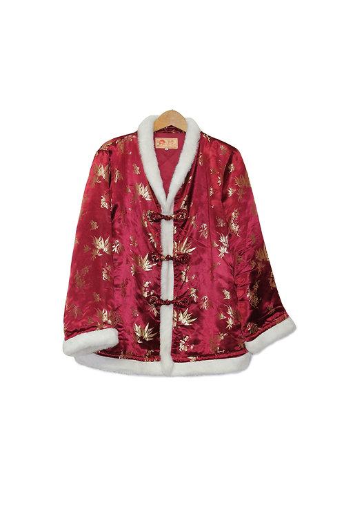 90s Silky Asian-Style Jacket w/Faux Fur - L/XL