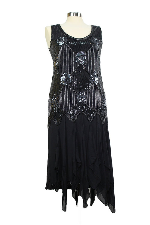 """""""90s Does 20s"""" Beaded Flapper Dress - M"""